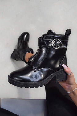 LOOK BACK Zip Front Ankle Boots - Black Patent