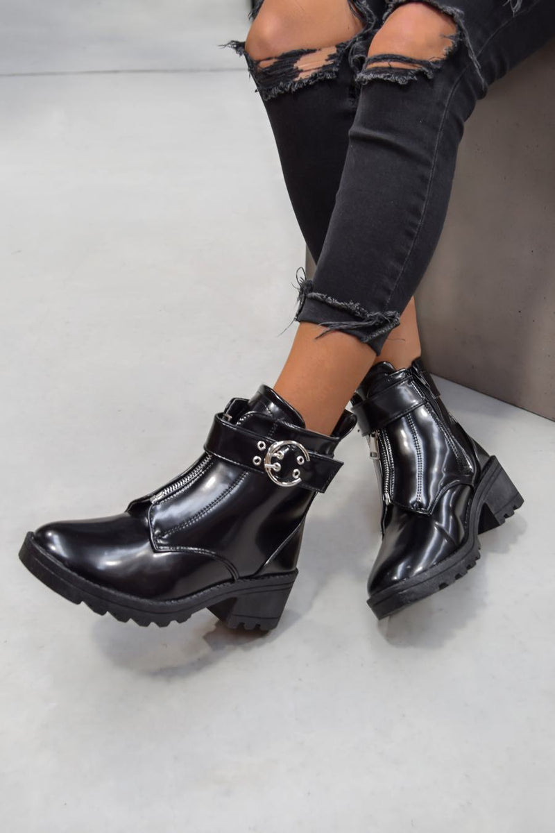 LOOK BACK Zip Front Ankle Boots - Black Patent - 1