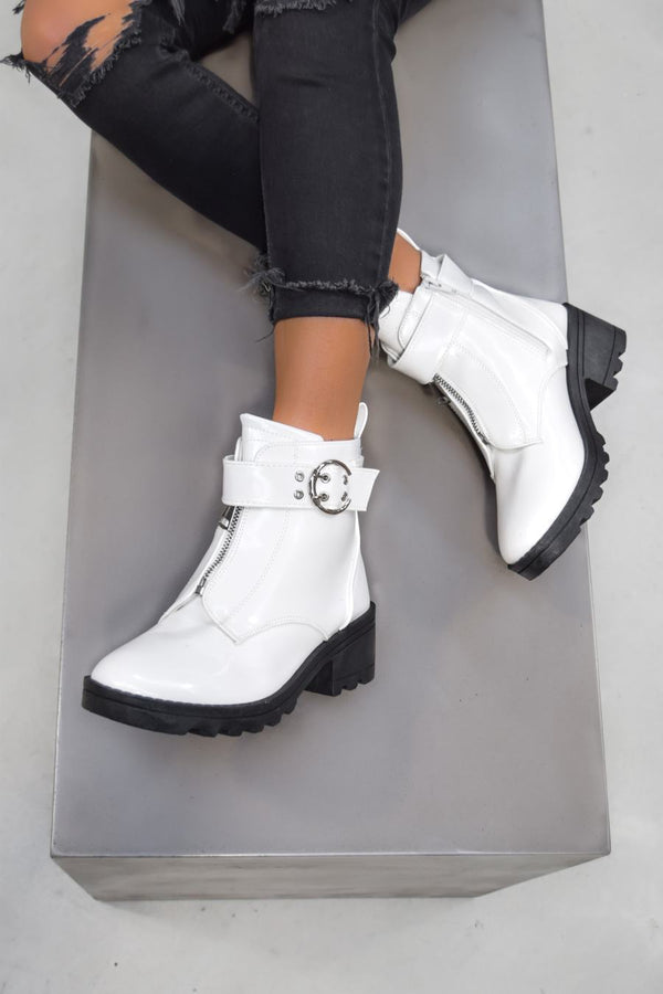 LOOK BACK Zip Front Ankle Boots - White Patent - 1