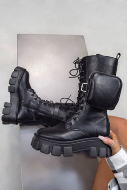 LOSE YOURSELF Lace up Pocket Chunky Mid Boots - Black PU