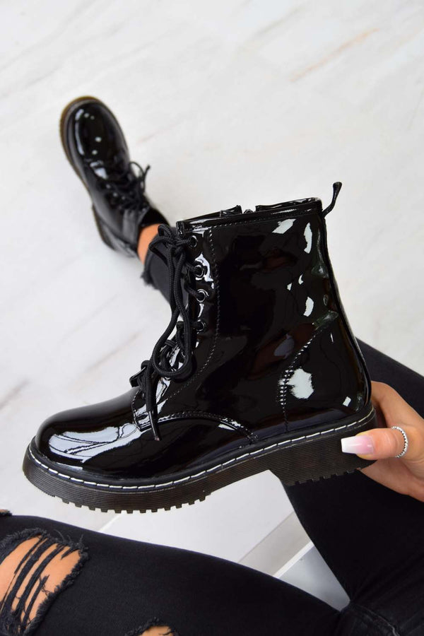 LOSE YOURSELF Lace Up Ankle Boots - Black Patent