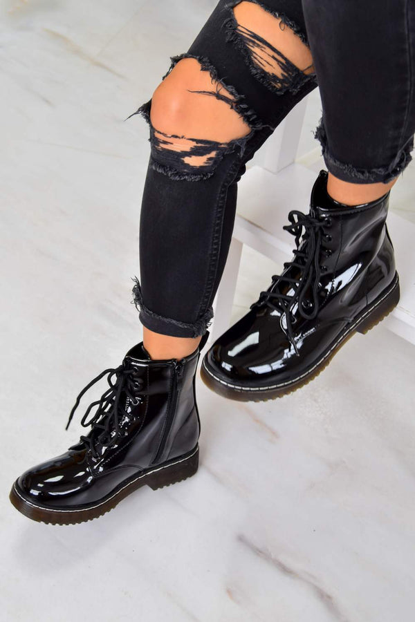 LOSE YOURSELF Lace Up Ankle Boots - Black Patent -1