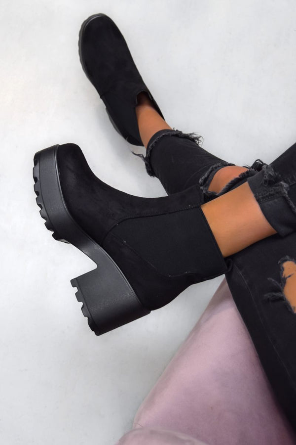 LOTTIE Chunky Platform Ankle Boots - Black Suede - 1