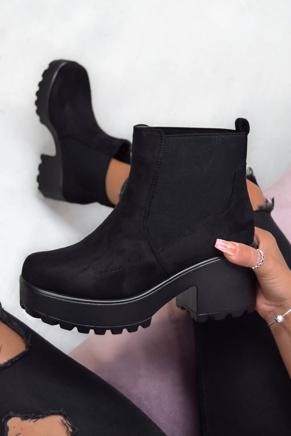 LOTTIE Chunky Platform Ankle Boots - Black Suede