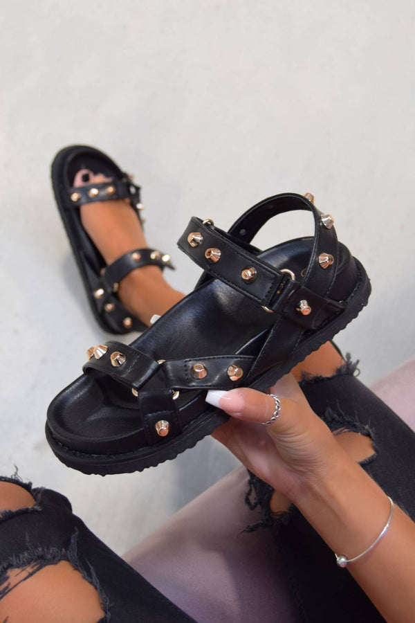 LOW KEY Multi Strap Studded Sandals - Black