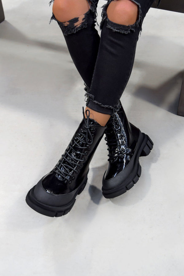LUZ Chunky Sole Lace Up Ankle Boots - Black Patent - 2