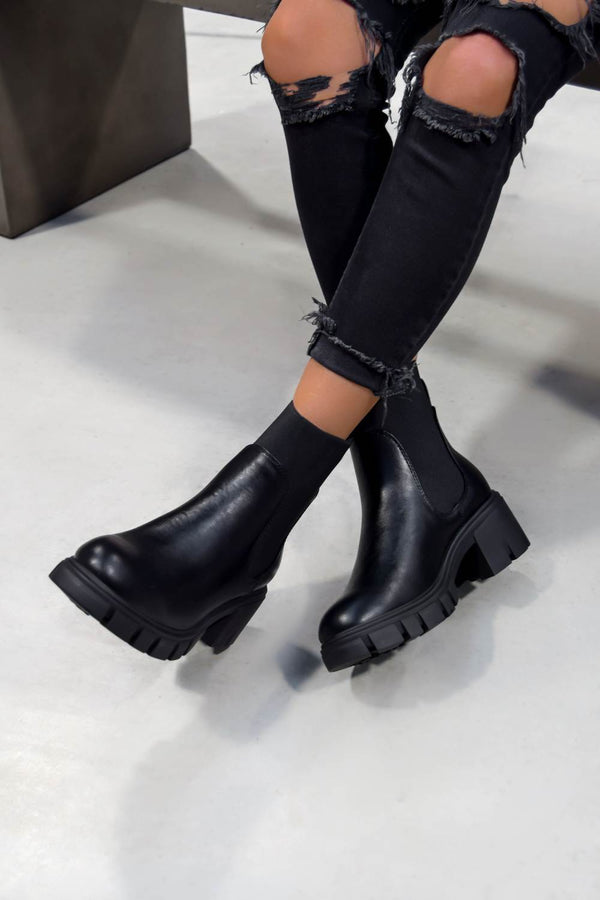 LYLA Chunky Panelled Ankle Boots - Black PU - 1