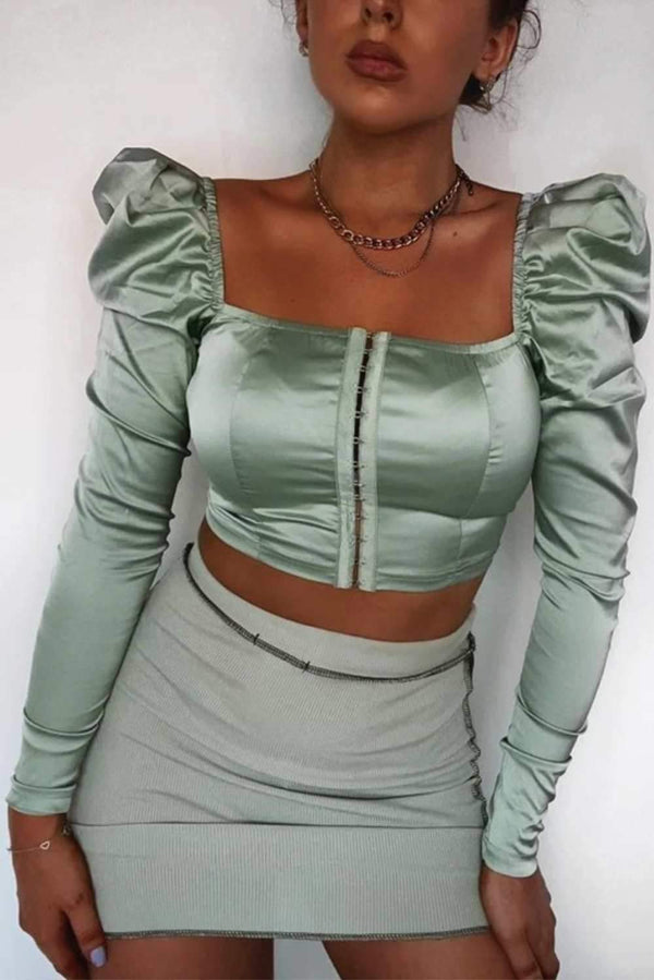 Long Sleeve Hook & Eye Satin Crop Top - Sage