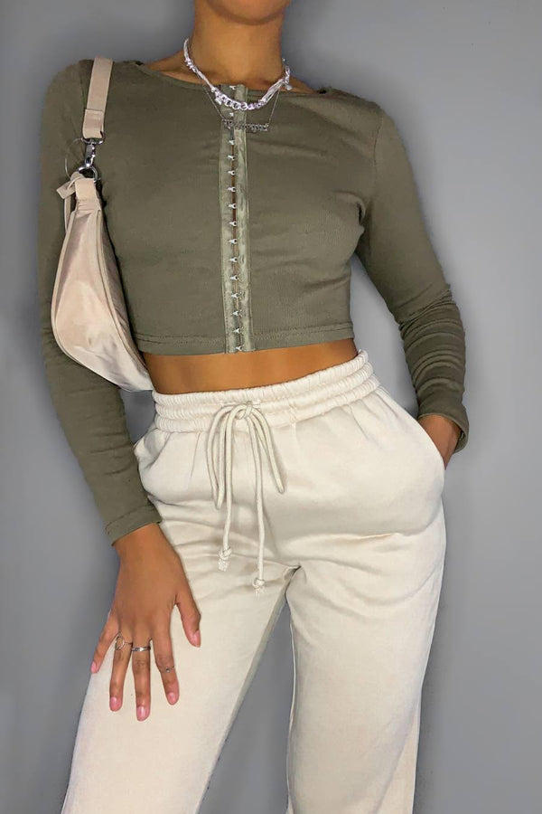Longsleeve Hook & Eye Jersey Crop Top - Khaki