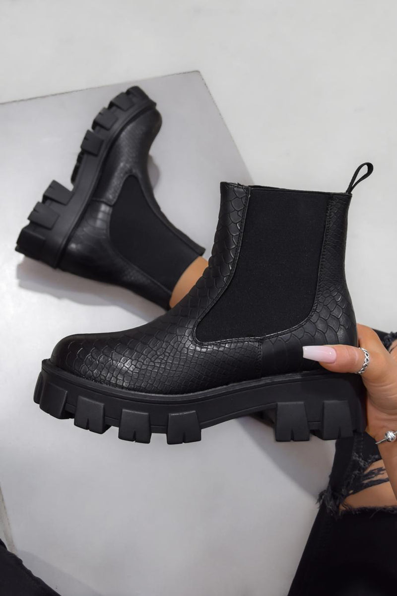 MADDOX Chunky Chelsea Ankle Boots - Black Croc - 2
