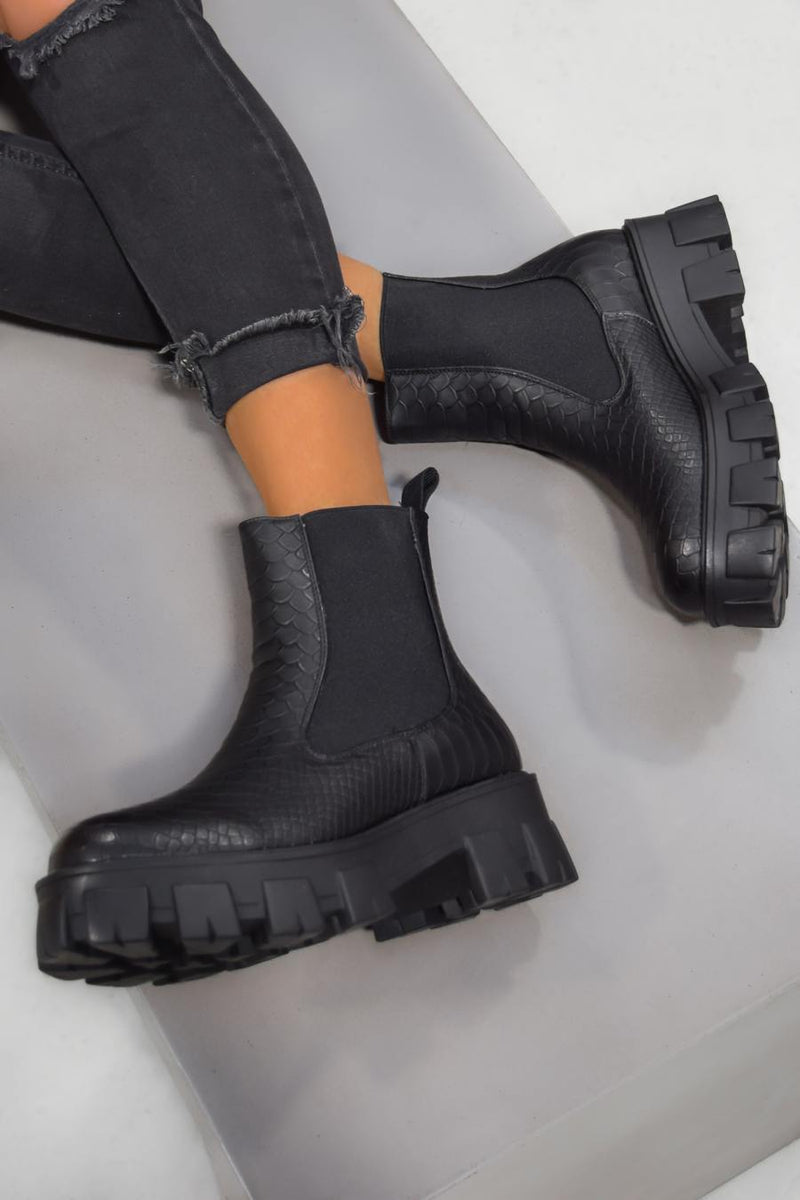 MADDOX Chunky Chelsea Ankle Boots - Black Croc - 1