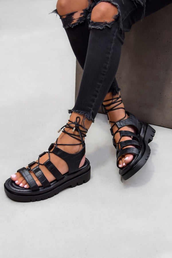 MADE IT Chunky Lace Up Sandals - Black Croc - 1