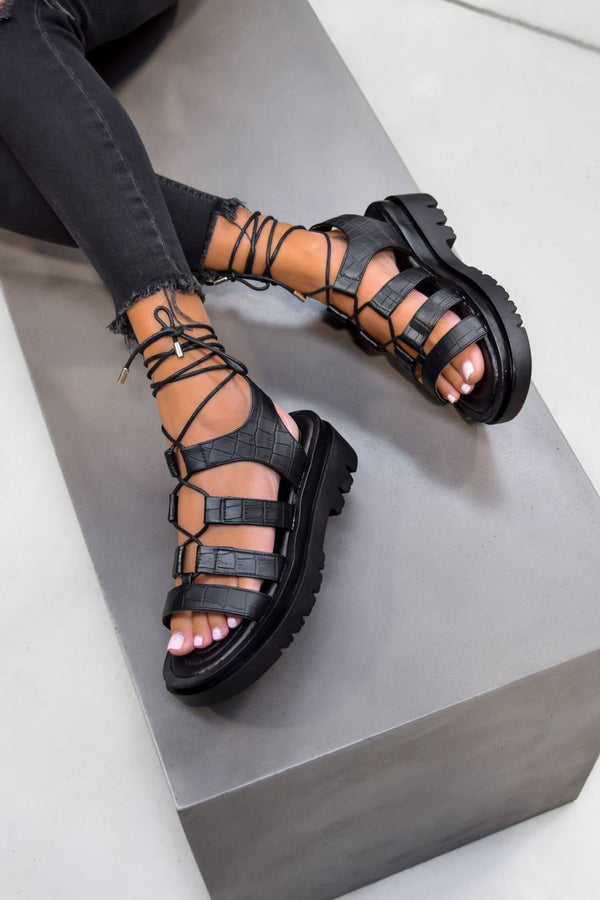 MADE IT Chunky Lace Up Sandals - Black Croc