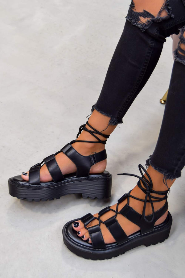 MADE IT Chunky Lace Up Sandals - Black PU - 1