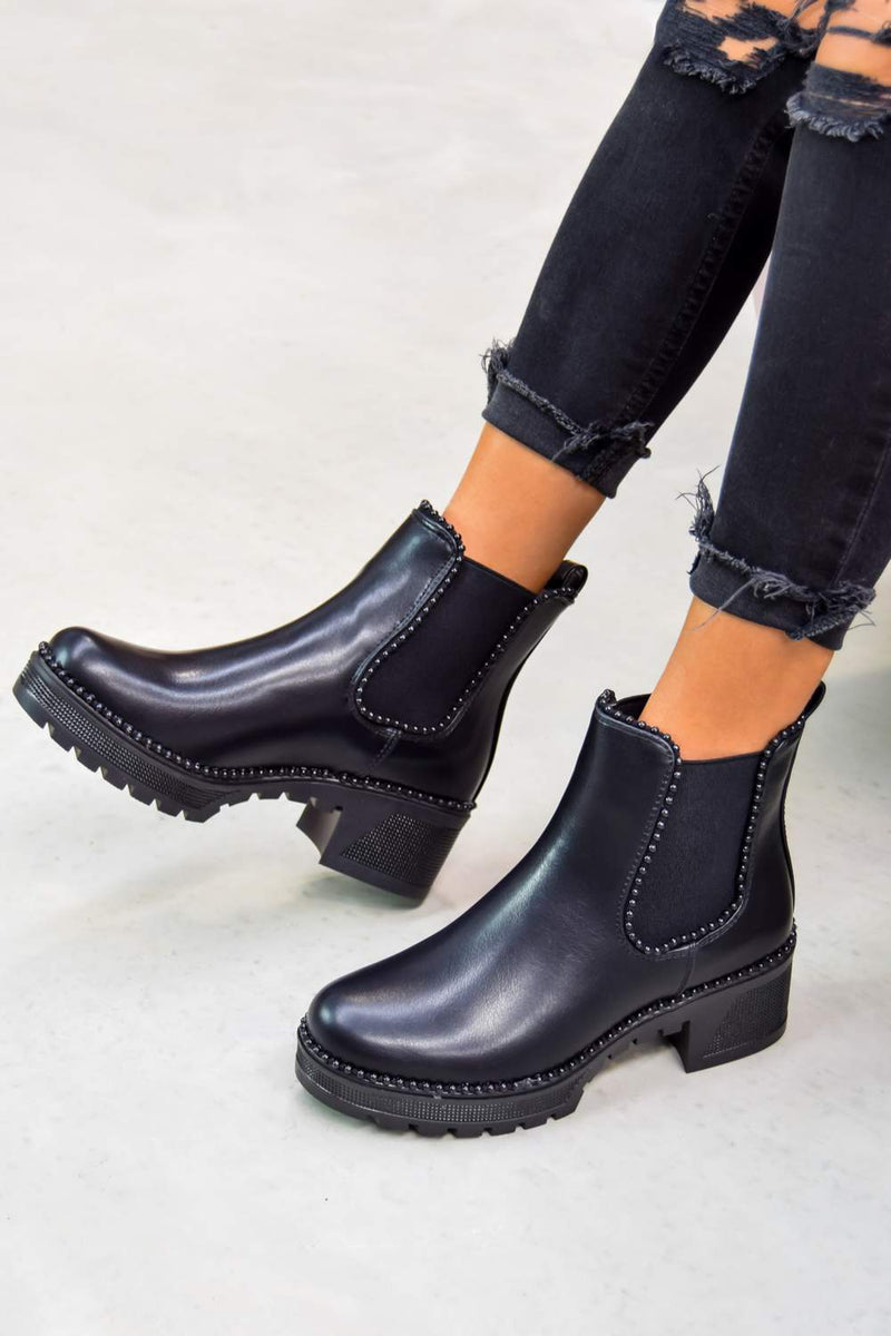 MAE Studded Trim Chelsea Ankle Boots - Black - 2