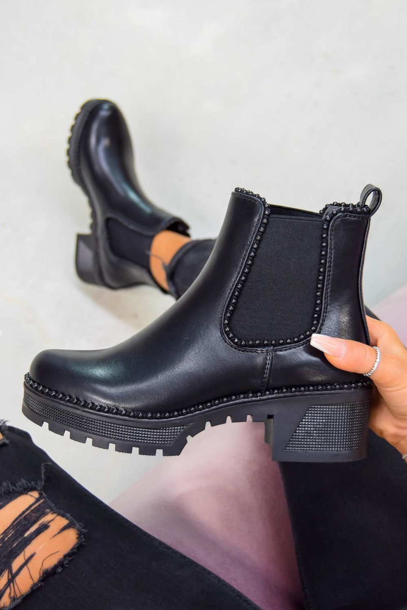 MAE Studded Trim Chelsea Ankle Boots - Black