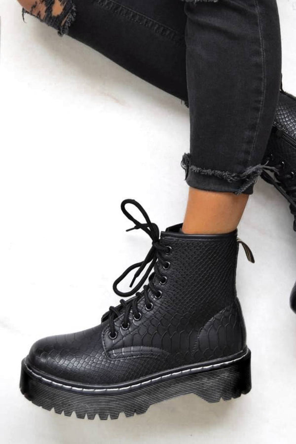 MAKE IT Chunky Platform Lace Up Ankle Boots - Black Croc - 1
