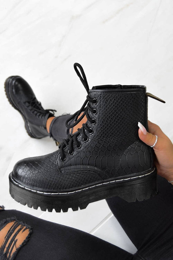 MAKE IT Chunky Platform Lace Up Ankle Boots - Black Croc
