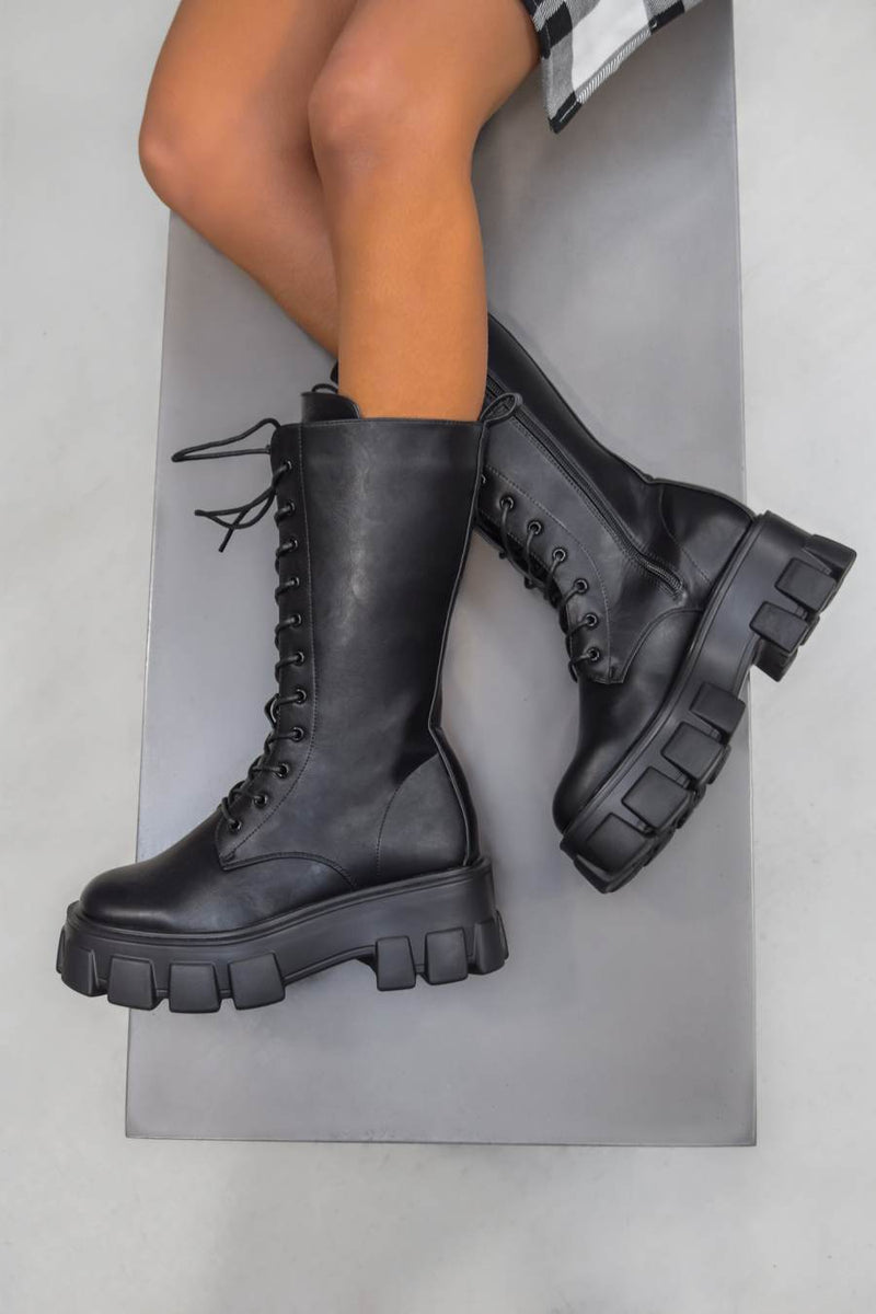 MAKE IT Super Chunky Platform Mid Boots - Black PU - 1