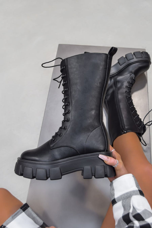 MAKE IT Super Chunky Platform Mid Boots - Black PU