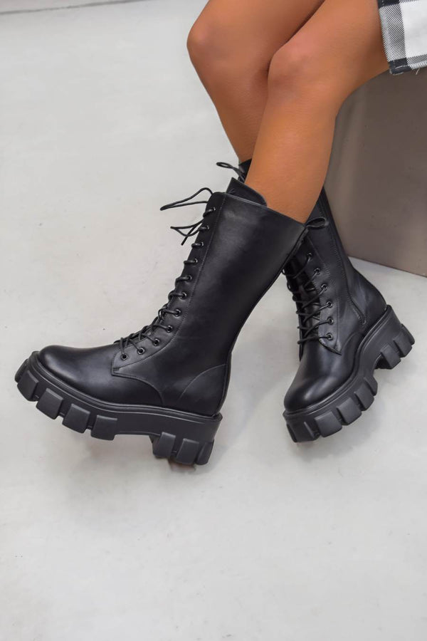 MAKE IT Super Chunky Platform Mid Boots - Black PU - 2