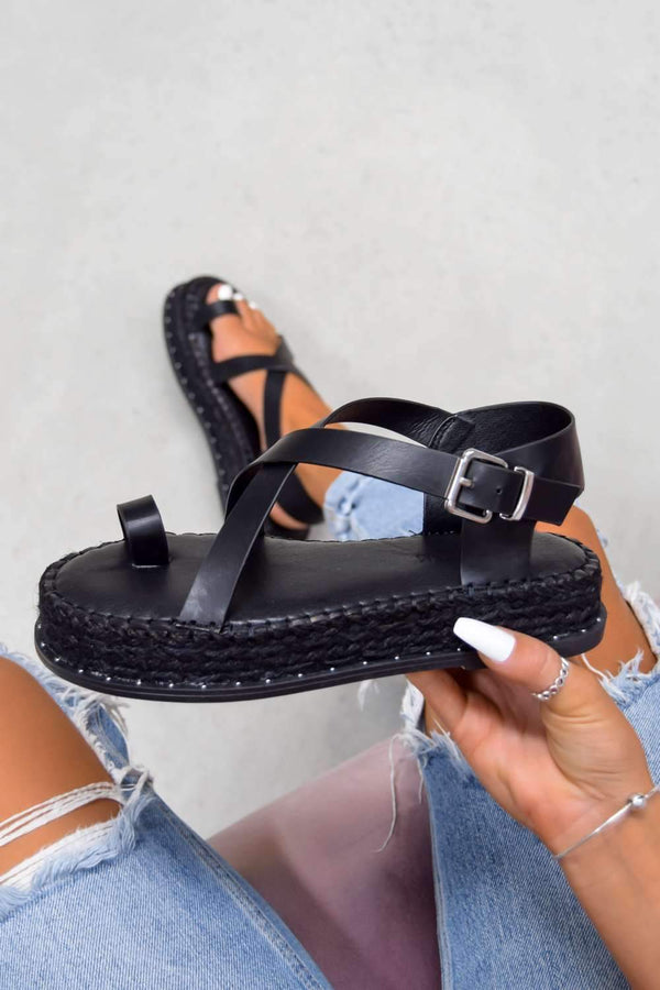 MAKE ME Chunky Cross Strap Espadrille Sandals - Black
