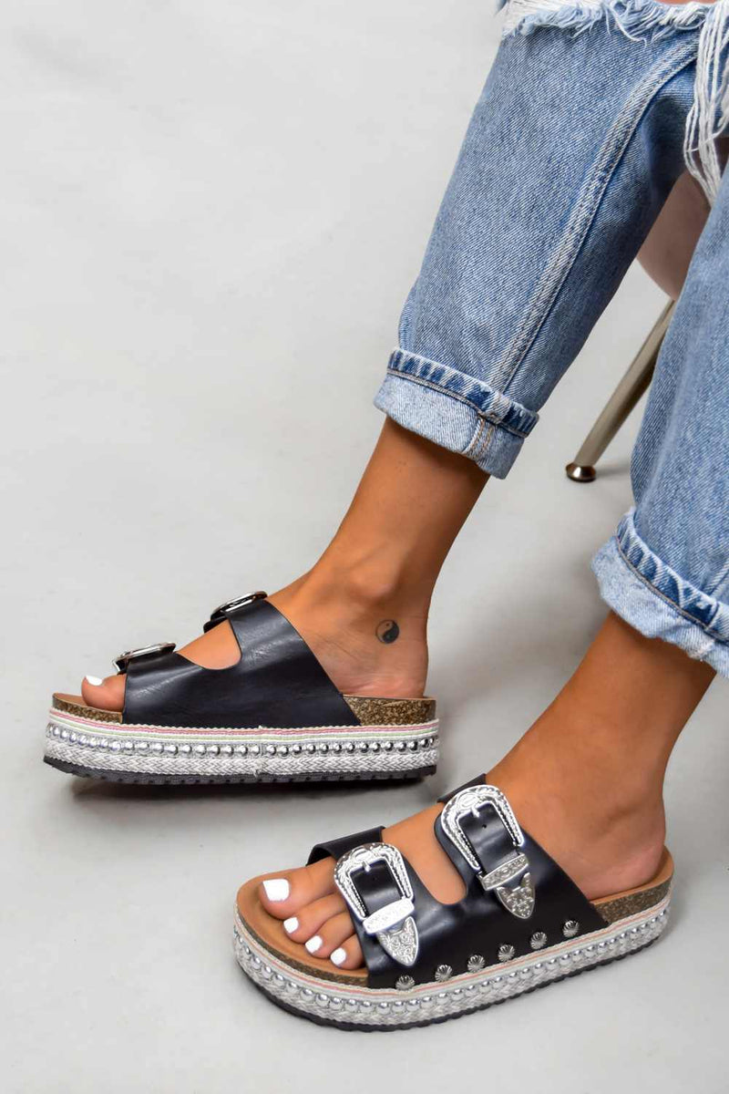 MAKE YOU Chunky Western Buckle Sandals - Black - 2