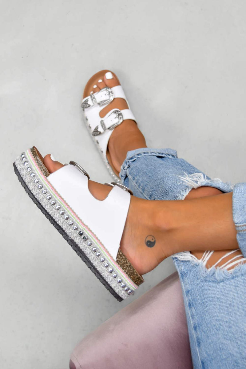 MAKE YOU Chunky Western Buckle Sandals - White - 2