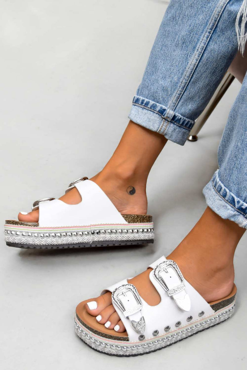 MAKE YOU Chunky Western Buckle Sandals - White - 1