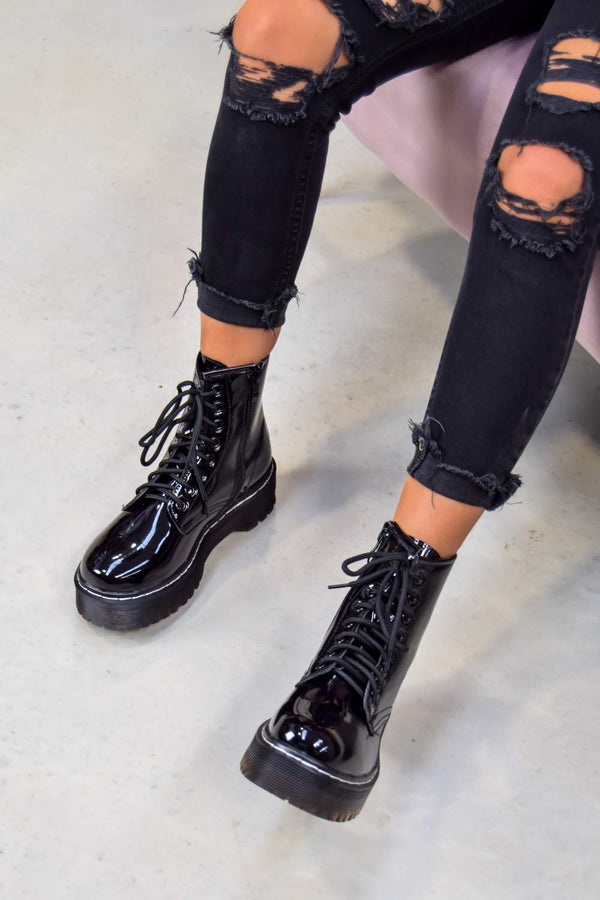 MAKE IT Chunky Platform Lace Up Ankle Boots - Black Patent - 1