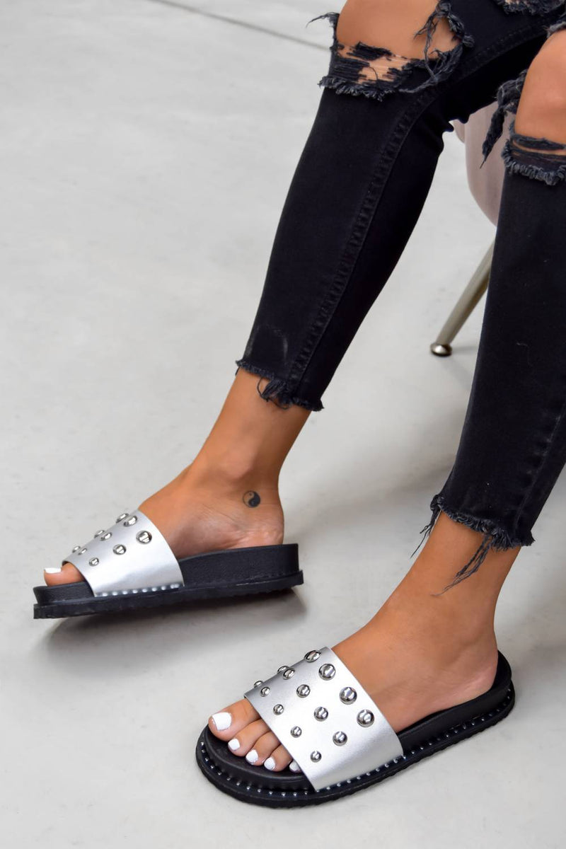 MARLINE Chunky Studded Sliders - Silver - 1