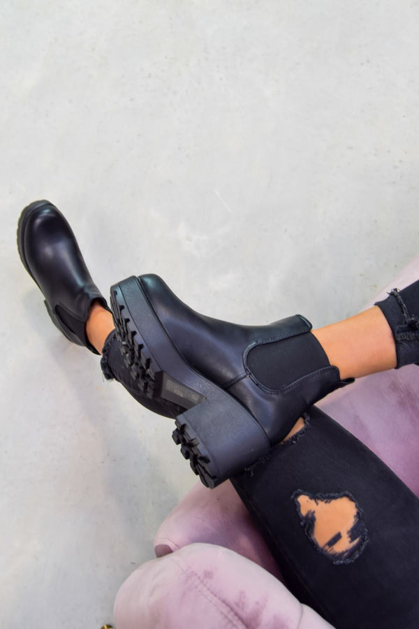 MARLIN Chunky Chelsea Ankle Boots - Black PU