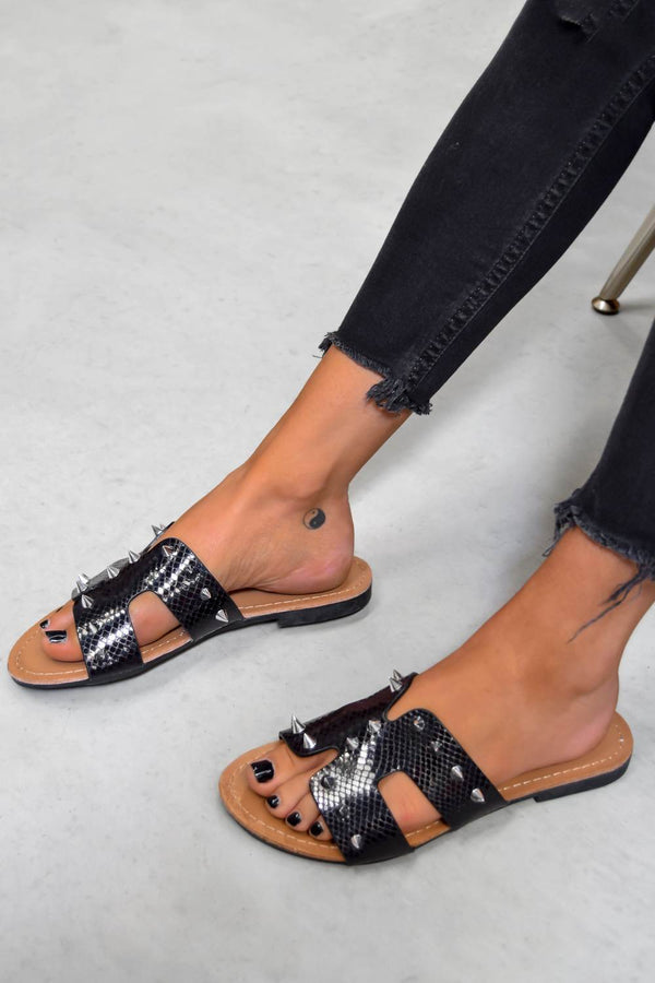 MAXI Studded Loupe Strap Sandals - Black