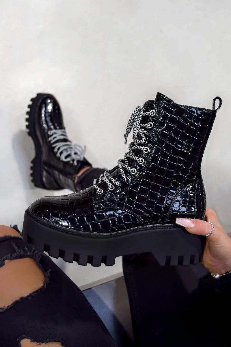 MAYA Chunky Platform Lace Up Ankle Boots - Black Croc