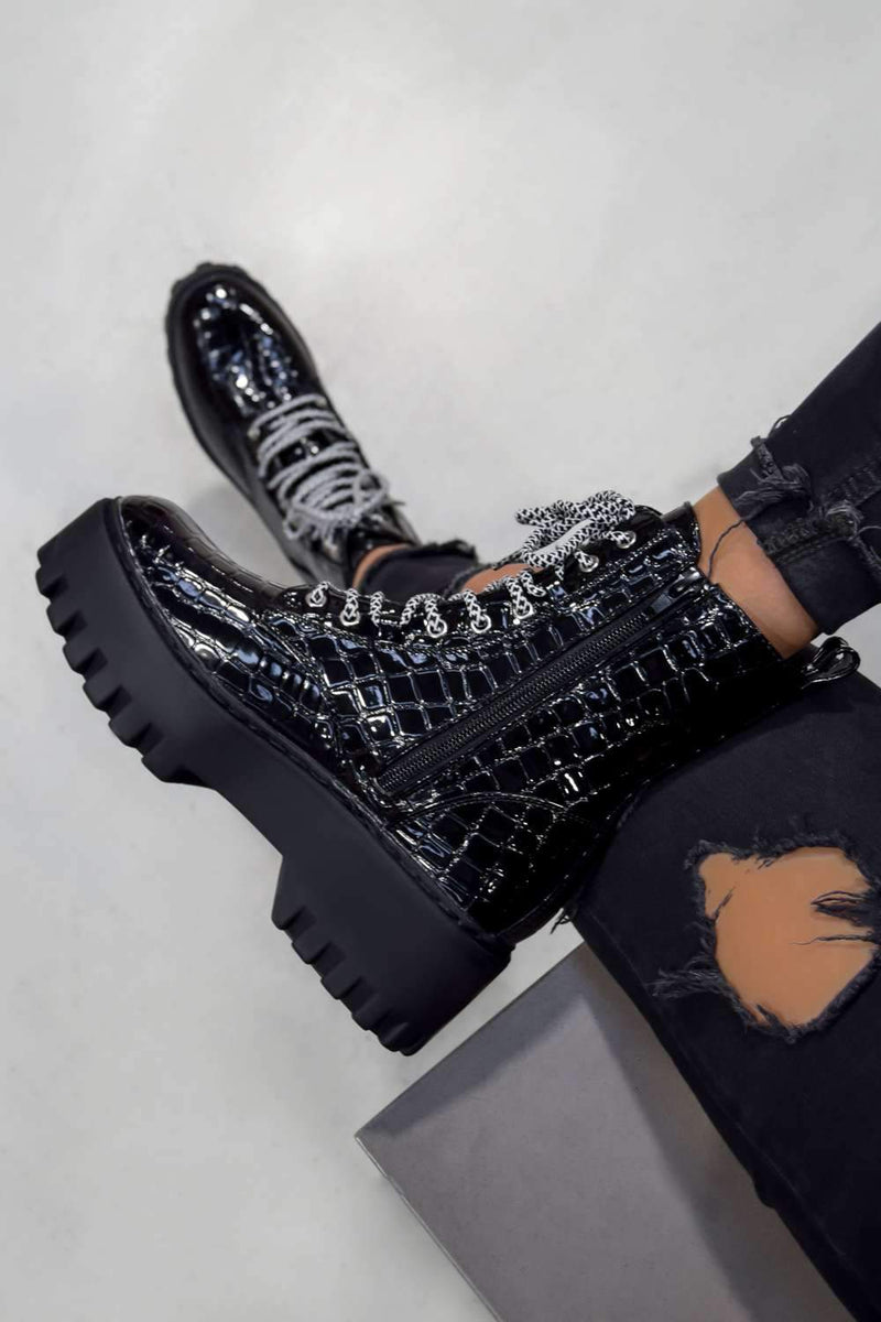 MAYA Chunky Platform Lace Up Ankle Boots - Black Croc - 2