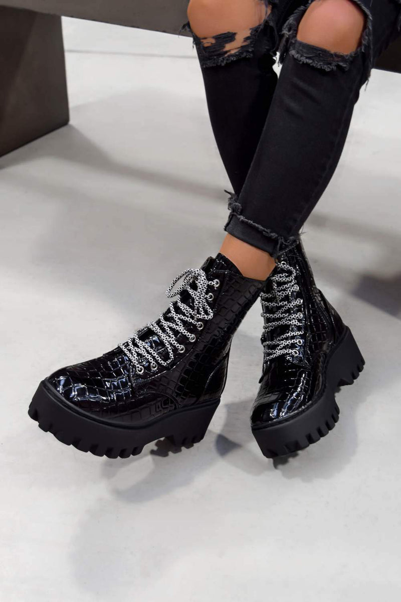 MAYA Chunky Platform Lace Up Ankle Boots - Black Croc - 1