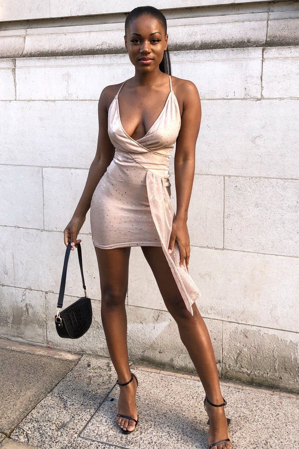 ROSA Metallic Plunge Drape Mini Dress - Nude
