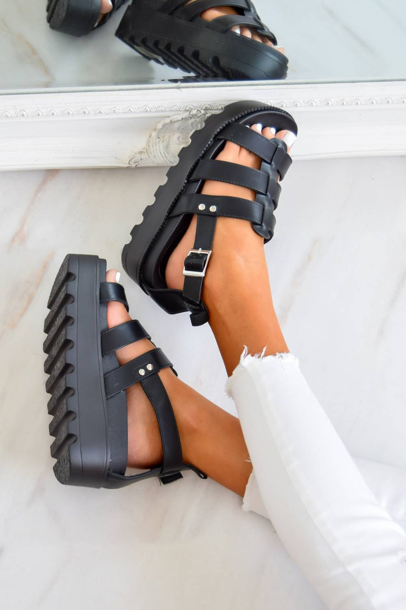 MEET ME Chunky Cleated Platform Gladiator Sandals - Black