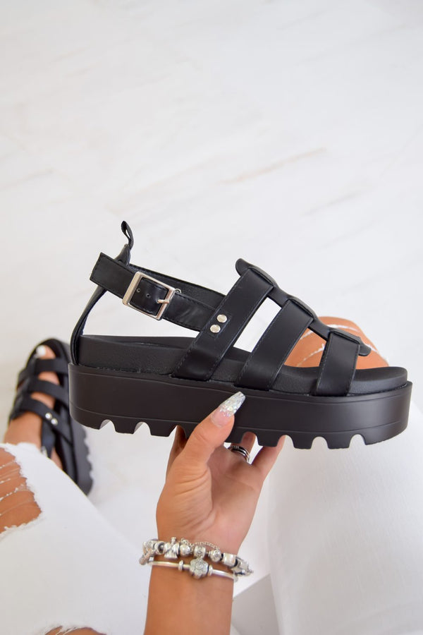 MEET ME Chunky Cleated Platform Gladiator Sandals - Black - 1