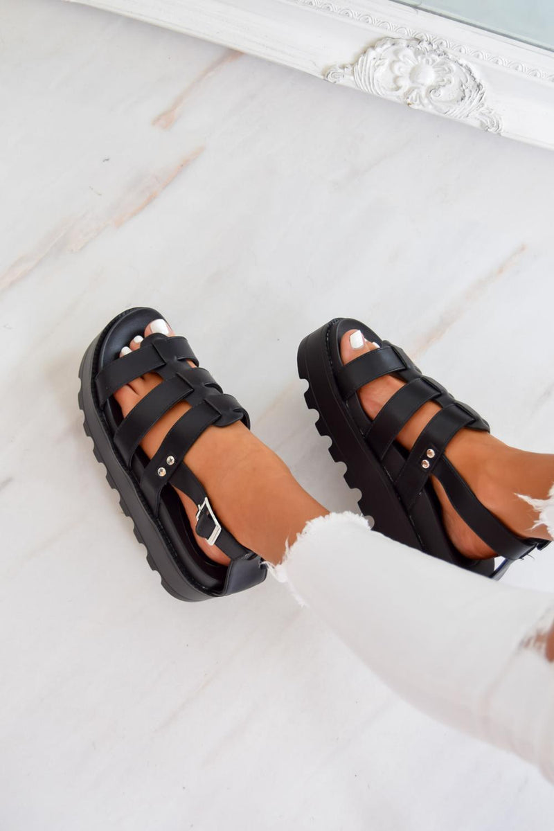 MEET ME Chunky Cleated Platform Gladiator Sandals - Black - 2