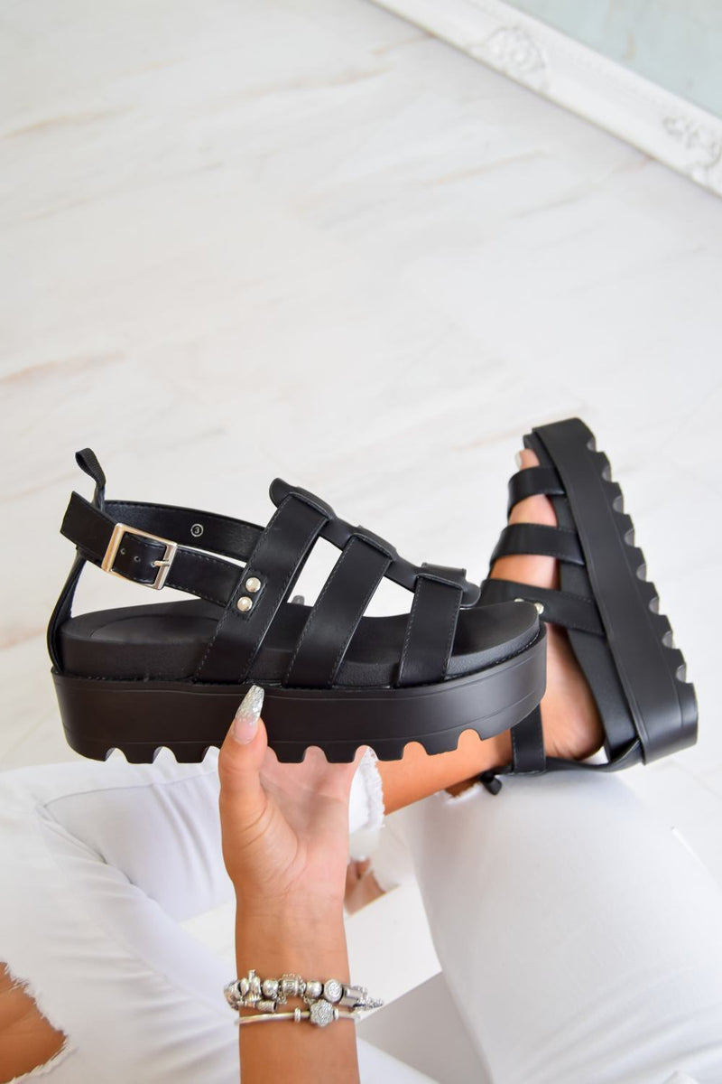 MEET ME Chunky Cleated Platform Gladiator Sandals - Black - 3