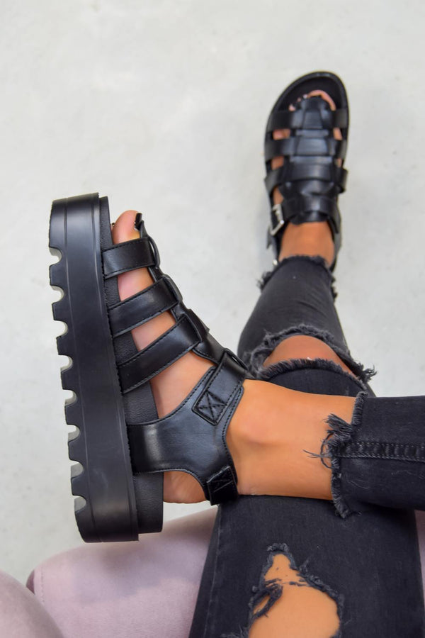 MIA Chunky Platform Gladiator Sandals - Black - 1