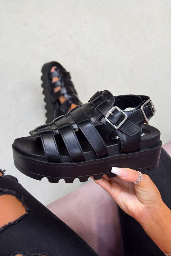 MIA Chunky Platform Gladiator Sandals - Black