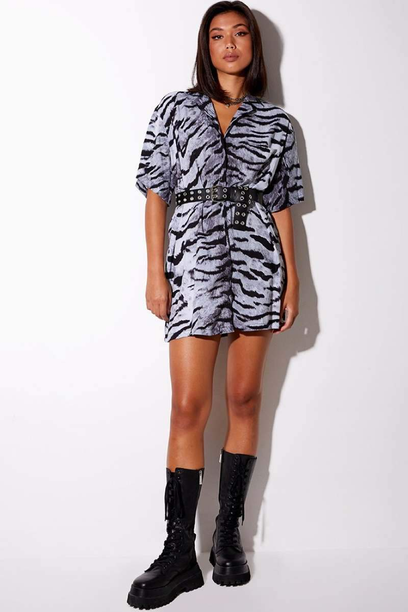 Motel Rocks Fresia Tiger Shirt Dress Black/Silver - 1
