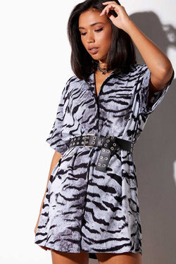 Motel Rocks Fresia Tiger Shirt Dress Black/Silver