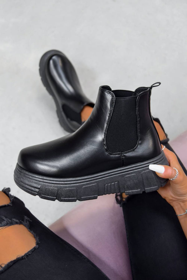 MOTION Chunky Platform Chelsea Ankle Boots - Black PU