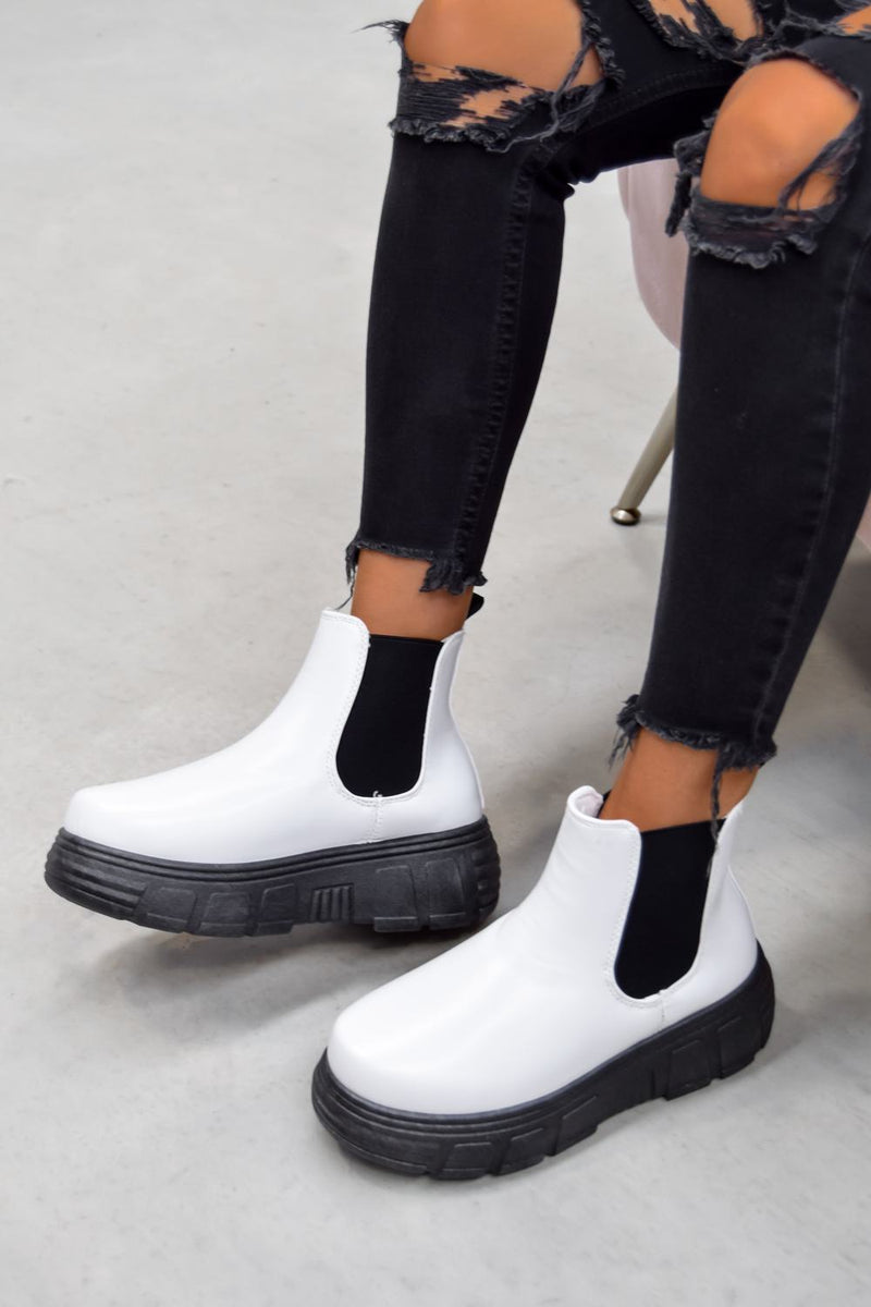 MOTION Chunky Platform Chelsea Ankle Boots - White PU - 1