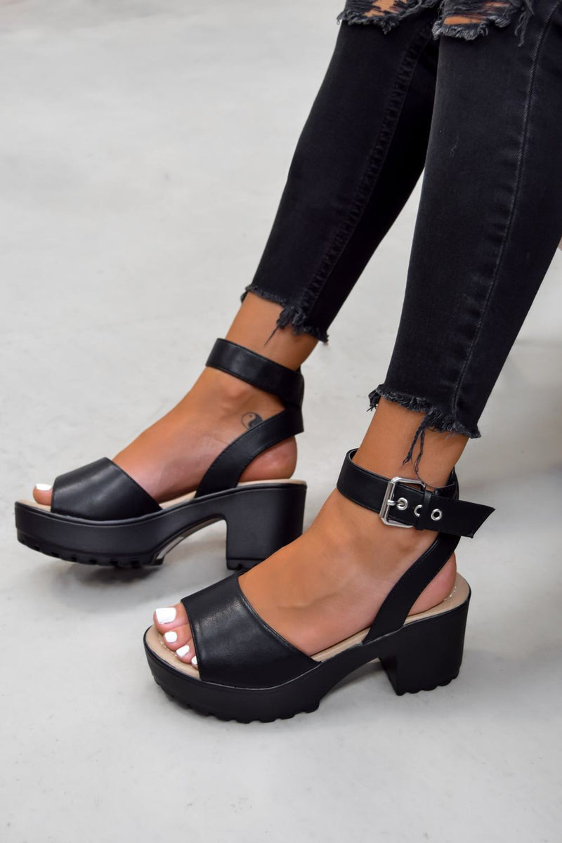 MOVE IT Chunky Platform Buckle Sandals - Black PU - 2