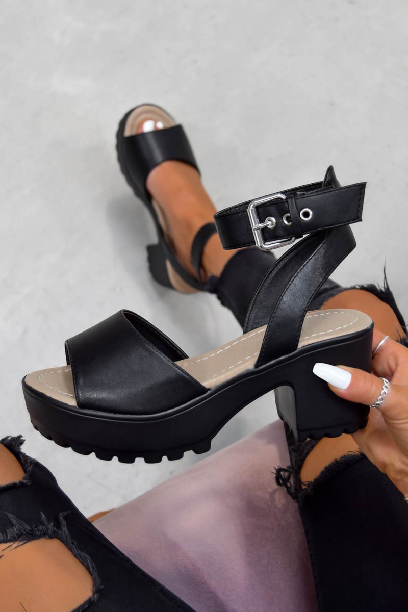 MOVE IT Chunky Platform Buckle Sandals - Black PU