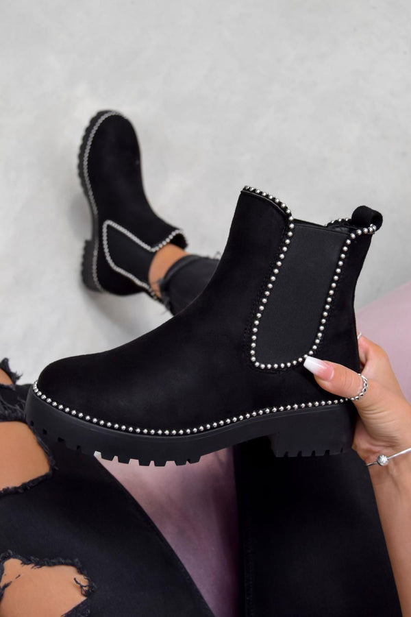 MOVE OVER Chelsea Studded Ankle Boots - Black Faux Suede